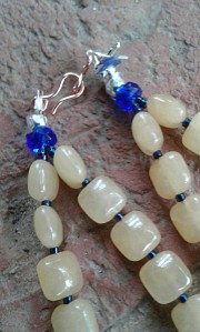 Close-up of the honey calcite pillow beads and spacers of Number 19