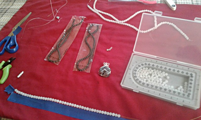 Working on a necklace
