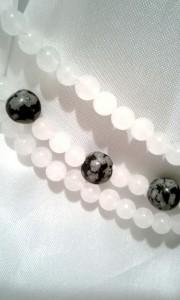 Close-up of quartz beads.