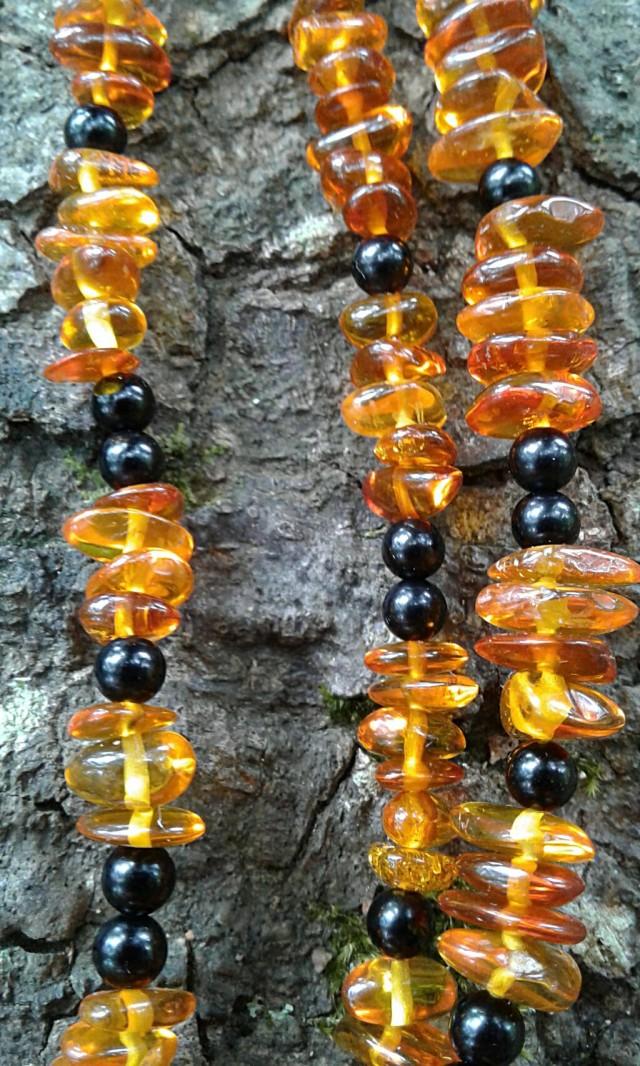 Amber and Jet beads closeup