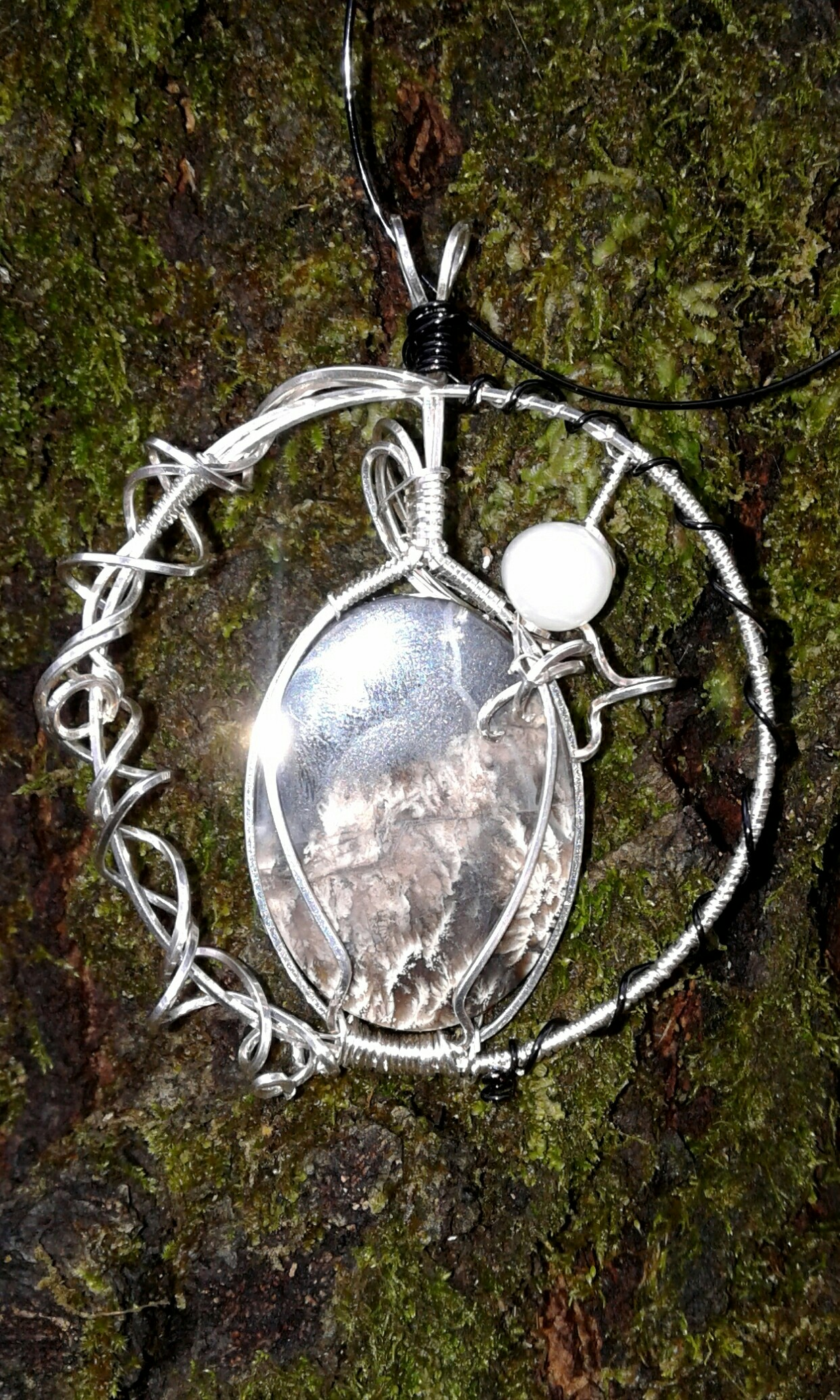 Lakeside Birches pendant reverse side