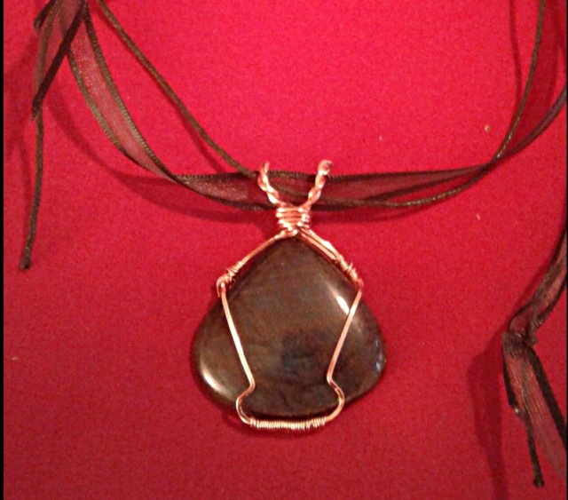 Labradorite Pendant pictured in ambient light