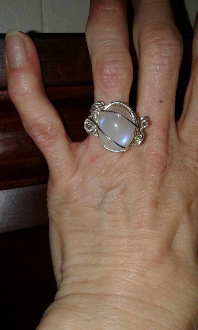 Moonstone Cab ring, modeled.