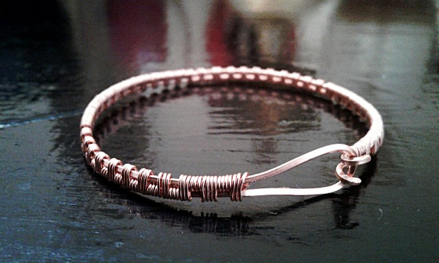 Wire Weave cuff bracelet in copper