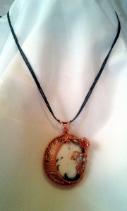 View of the Lunaire Pendant worn on cord.