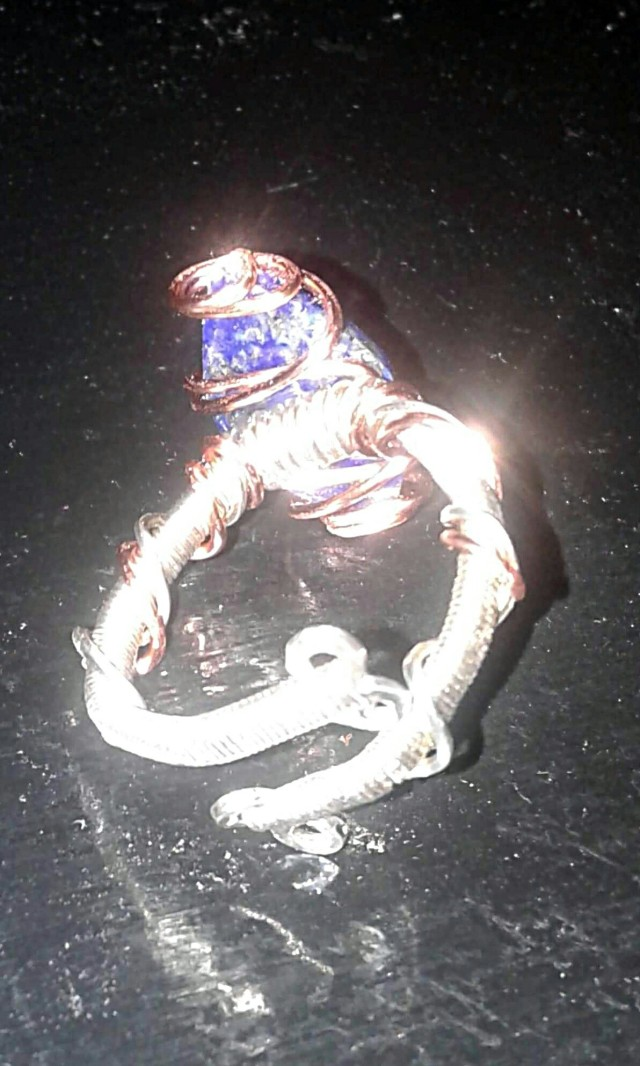 Lapis ring back and underside view