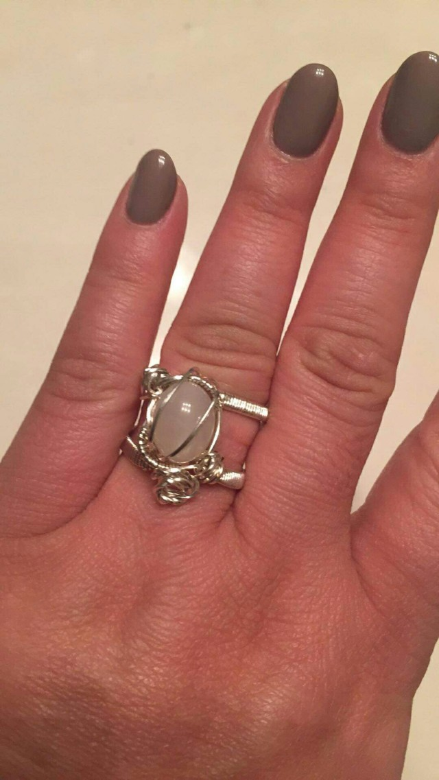Commissioned Moonstone Ring pictured on owner