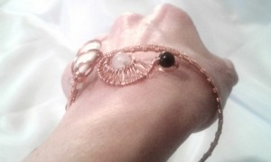 Moonspinner Bracelet: modeled by the maker.